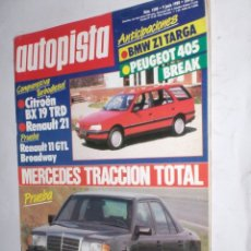 Coches: REVISTA AUTOPISTA Nº1508 9 JUNIO 1988,MERCEDES TRACCION TOTAL,BMW Z1,CITROEN 19TRD,RENAULT 21-11GT,. Lote 176841707