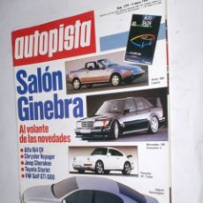 Coches: REVISTA AUTOPISTA Nº1599 8 MARZO 1990.SALON GINEBRA,ESPECIAL F-1,ALFA 164,CHRYSLER VOYAGER,JEEP CHE. Lote 176843244