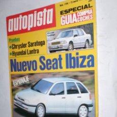 Coches: REVISTA AUTOPISTA Nº1704 12 MARZO 1992,SEAT IBIZA,CHRYSLER SARATOGA,HYUNDAI LANTRA,RALLYE PORTUGAL. Lote 177180554