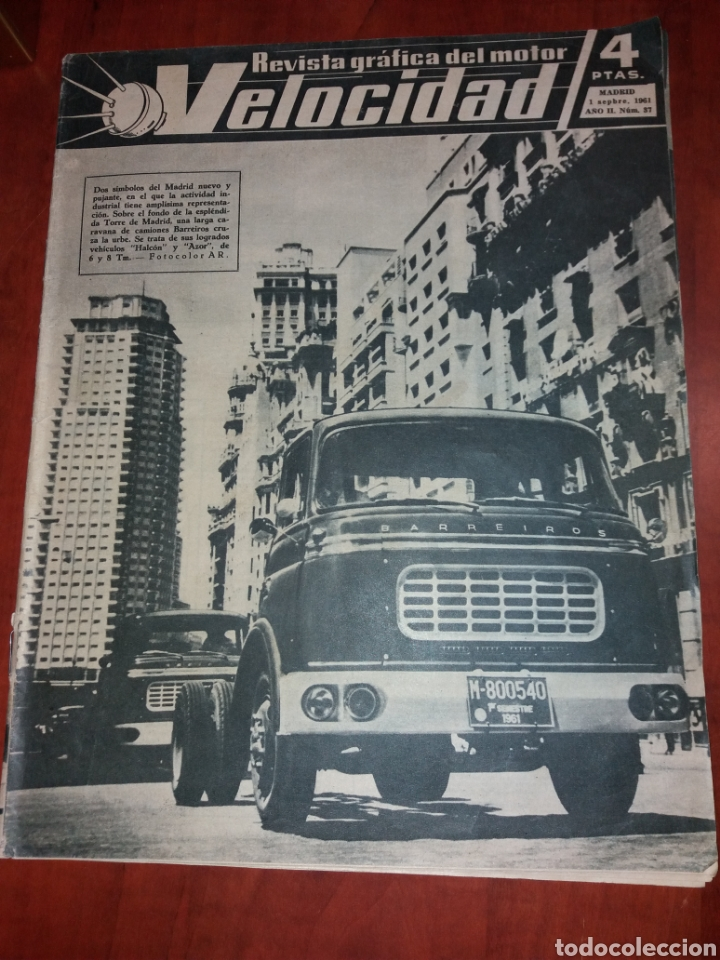 REVISTA VELOCIDAD N° 37 1961. BARREIROS PEGASO ISO. (Coches y Motocicletas Antiguas y Clásicas - Revistas de Coches)