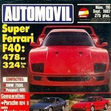 Coches: AUTOMOVIL Nº 116 SEPTIEMBRE 1987 FERRARI F40 PORSCHE 924 S MAZDA RX-7 SUZUKI SWIFT. Lote 182772348