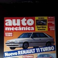 Coches: AUTO MECANICA Nº 210-1987-RENAULT 11 TURBO-VW PASSAT GL5-OPEL OMEGA 3000-PEUGEOT 505 GTD TURBO. Lote 183362965
