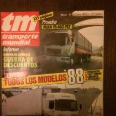 Coches: REVISTA TRANSPORTE MUNDIAL NÚMERO 11 MAYO 1988 MAN RENAULT PEGASO. Lote 183709366