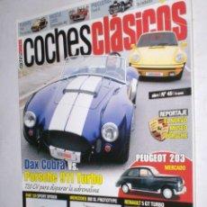 Coches: REVISTA COCHES CLASICOS Nº49 AÑO V 2009 DAX COBRA,PORSCHE 911 TURBO,PEUGEOT 203,FIAT 124SPORT SPIDER. Lote 185990570