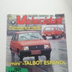 Coches: VELOCIDAD - 2 ENERO 1982 // REVISTA MINI TALBOT TRIUMPH TR 7 TEST LADA NIVA MUNDIAL RALLYES 81 . Lote 191174158