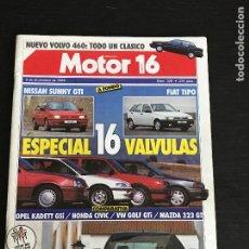 Coches: MOTOR 16 Nº 320 - NISSAN SUNNY GTI FIAT TIPO OPEL KADETT HONDA CIVIC VOLKSWAGEN GOLF MAZDA 323 GT XM. Lote 191325418