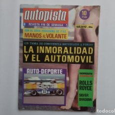 Coches: AUTOPISTA Nº 538 AÑO 1969 , II RAID PRO DEPORTE ESPAÑOL SEAT 600, ROLLS ROYCE, LAND ROVER SANTANA. Lote 194293281