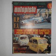 Coches: AUTOPISTA Nº 453 AÑO 1969 SEAT 600, 124, 128, FERRARI, MONTJUIT CAMPEONATO MUNDIAL TRIUNFO STEWART. Lote 194355147
