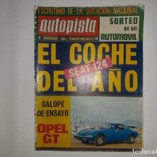 Coches: AUTOPISTA Nº 527 AÑO 1969 SEAT 124 COCHE DEL AÑO, FIAT 124 S, OPEL GT, SPIDER 908 COUPE LIMOUSINE. Lote 194357300