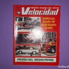 Coches: VELOCIDAD 1983 Nº 1129 SALON BARCELONA YIII PRUEBA NISAN PATROL SCOOTDERBI UN NUEVO CONCEPTO. Lote 194358266