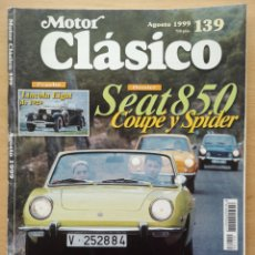 Coches: REVISTA MOTOR CLASICO Nº 139 SEAT 850 SPORT COUPE SPIDER RENAULT ALPINE V6 TYRREL MICROCOCHES ESPAÑA. Lote 194674665