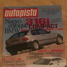 Coches: AUTOPISTA Nº 1806 - FEBRERO 1994 - HONDA CIVIC COUPE / LANCIA DELTA HF / BMW 316I COMPACT. Lote 194875871