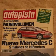 Coches: AUTOPISTA Nº 1762 - ABRIL 1993 - MERCEDES CLASE C / NOVEDADES / FORD ESCORT CET. Lote 194877131
