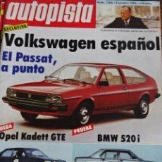 Carros: REVISTA AUTOPISTA 1264 VW PASSAT OPEL KADETT GTE BMW 520 I FIAT UNO . Lote 199844845