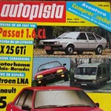 Carros: REVISTA AUTOPISTA 1272 VW PASSAT CITROEN CX GTI LNA RENAULT 25 PANTHER KALLISTA . Lote 199845106
