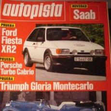 Carros: REVISTA AUTOPISTA 1298 FORD FIESTA XR2 TRIUMPH GLORIA MONTECARLO PORSCHE TURBO CABRIO - RENAULT 25. Lote 199901795