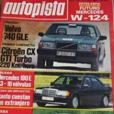 Carros: REVISTA AUTOPISTA 1316 MERCEDES W 124 190 2.3 16V NISSAN SILVIA VOLVO 740 GLE CITROEN CX GTI SCANIA. Lote 199903566