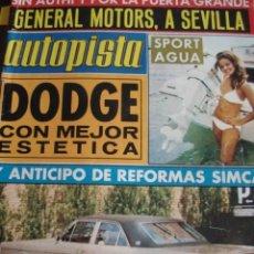 Carros: REVISTA AUTOPISTA 814 DODGE 3700 - RENAULT DAUPHINE HERTA - SIMCA 1200 - . Lote 199939691