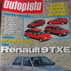 Carros: REVISTA AUTOPISTA 1390 CITROEN BX 19 FORD SIERRA RENAULT 9 TXE FORD ORION VW PASSAT FIAT REGATA. Lote 203610923