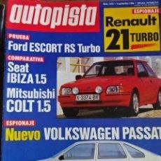 Carros: REVISTA AUTOPISTA 1416 RENAULT 21 TURBO SEAT IBIZA 1.5 FORD ESCORT RS TURBO BMW Z1 MITSUBISHI COLT. Lote 203633030