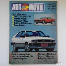 Coches: REVISTA AUTOMOVIL FORMAULA Nº 54 - JULIO 1982 - TRIUMPH TR3 A - AUDI COUPE GT 5E. Lote 206184887