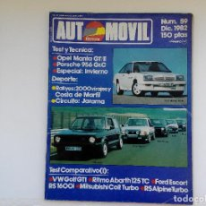 Coches: REVISYTA AUTOMOVIL Nº 59 - DIC 1982 - OPEL MANTA GTE - R5 ALPINE TURBO - RITMO ABSRTH 125. Lote 206185583