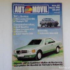 Coches: REVISYTA AUTOMOVIL Nº 50 - MARZO 1982 - TRIUMPH TR7 - ASCONA 400 - ASTON MARTIN DB6. Lote 206186073