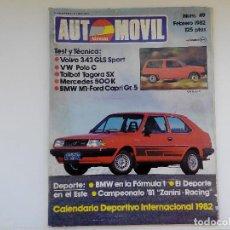 Coches: REVISYTA AUTOMOVIL Nº 49 FEBRERO 1982 - VOLVO 343 GLS - TALBOT TAGORA SX - MERCEDES 500 K. Lote 206186398