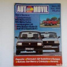 Coches: REVISYTA AUTOMOVIL Nº 70 NOV 1983 - MG METRO TURBO - METRO 1300 - ALFA GIULIA SS. Lote 206186521