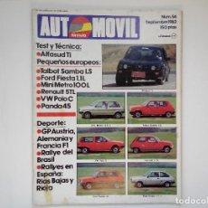 Coches: REVISTA AUTOMOVIL Nº 56 SEP 1982 - ALFASUD TI - TALBOT SAMBA LS - MINIMETRO 100L - RENAULT 5 GTL. Lote 206401682