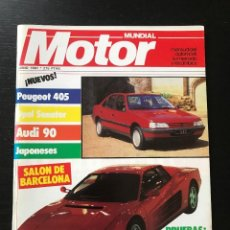 Coches: MOTOR MUNDIAL Nº 495 - RENAULT 11 TURBO FORD SIERRA SALON AUTOMOVIL BARCELONA PEUGEOT 405 FIAT UNO. Lote 207125581
