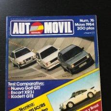 Coches: AUTOMOVIL Nº 76 - RENAULT 11 TURBO VOLKSWAGEN GOLF GTI OPEL KADETT GTE ESCORT XR3I PORSCHE 911 CORSA. Lote 207125877