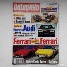 Carros: REVISTA AUTOPISTA Nº 1596 - AÑO 1990 - FERRARI 328 CONTRA 348 - BMW 535I CONTRA SAAB CDI TURBO. Lote 207492045