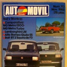 Coches: AUTOMÓVIL N° 70 (NOVIEMBRE 1983). ALFA ROMEO GIULIA SS, RALT R3 TOYOTA DE F3, COMPARATIVA MG. Lote 211627610