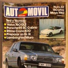 Auto: AUTOMÓVIL N° 52 (MAYO 1982). PREPARAR UN GR.N, PORSCHE 911 SC CABRIO, LAMBORGHINI MIURA,.... Lote 211627629