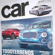 Coches: REVISTA CAR Nº63 2012 JAGUAR F-TYPE,LAMBOR URUS,BENTLEY EXP9,TODOTERRENOS,ABARTH,OPEL ASTRA CDTI,. Lote 211971556