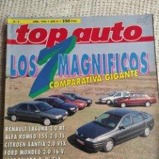 Carros: TOP AUTO Nº 4 ABRIL 1994 RENAULT LAGUNA 2.0 RT, ALFA ROMEO 155 2.0 TS. Lote 219739368
