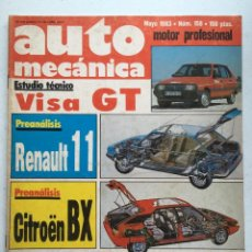 Carros: AUTOMECANICA Nº158 (MAYO 1983) CITROEN VISA GT, SEAT FURA CRONO, PEGASO, CITROEN BX. Lote 220652693