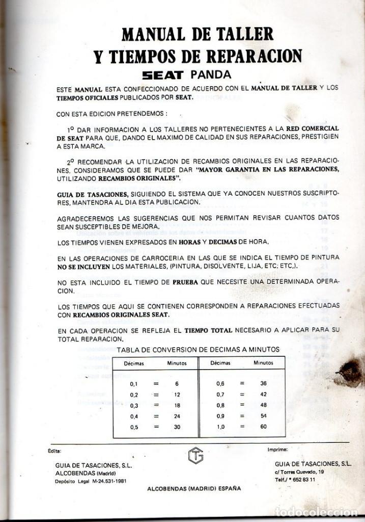 Coches: MANUAL DE TALLER Y TIEMPOS DE REPARACIÓN *** SEAT PANDA 35-45 **** SEPTIEMBRE 1981 - Foto 2 - 220856415