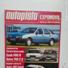 Coches: AUTOPISTA N 1399 - MAYO 1986 - SAAB 900/ VOLVO 740 2.0 - SIERRA LASER. Lote 224636738