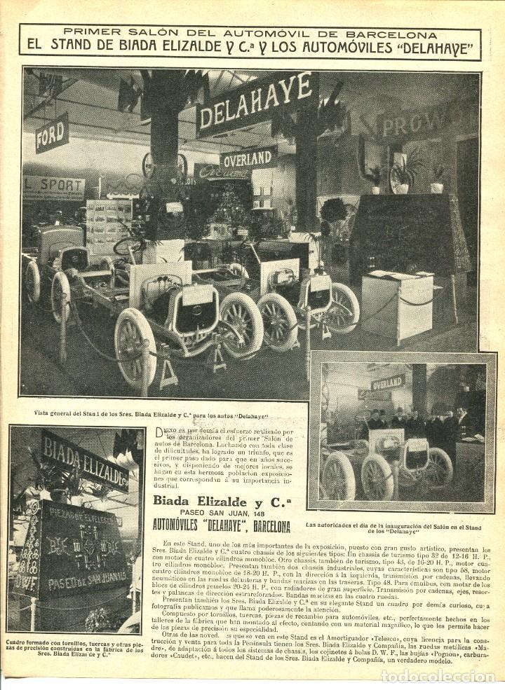 2 LAMINAS HOJA-BARCELONA-PRIMER SALÓN DEL AUTOMOVIL-AÑO 1913- ELIZALDE-DELAHAYE-FORD-- RARA (Coches y Motocicletas Antiguas y Clásicas - Revistas de Coches)