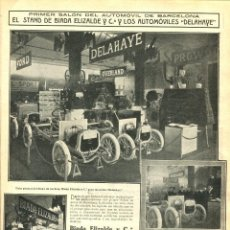 Coches: 2 LAMINAS HOJA-BARCELONA-PRIMER SALÓN DEL AUTOMOVIL-AÑO 1913- ELIZALDE-DELAHAYE-FORD-- RARA. Lote 238717540