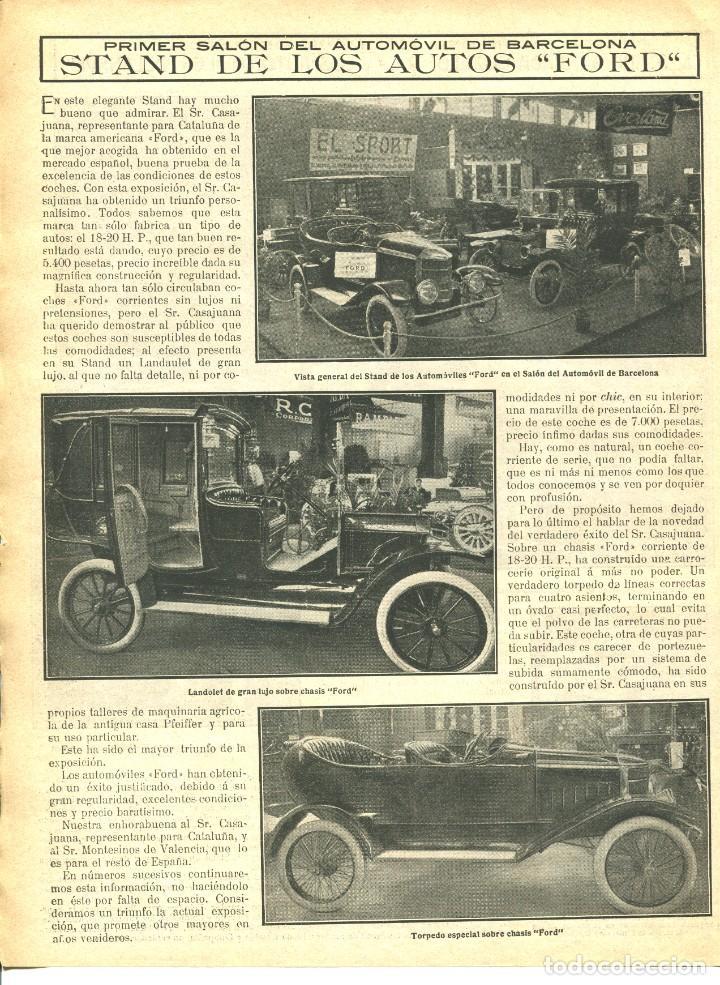 Coches: 2 LAMINAS HOJA-BARCELONA-PRIMER SALÓN DEL AUTOMOVIL-AÑO 1913- ELIZALDE-DELAHAYE-FORD-- RARA - Foto 2 - 238717540