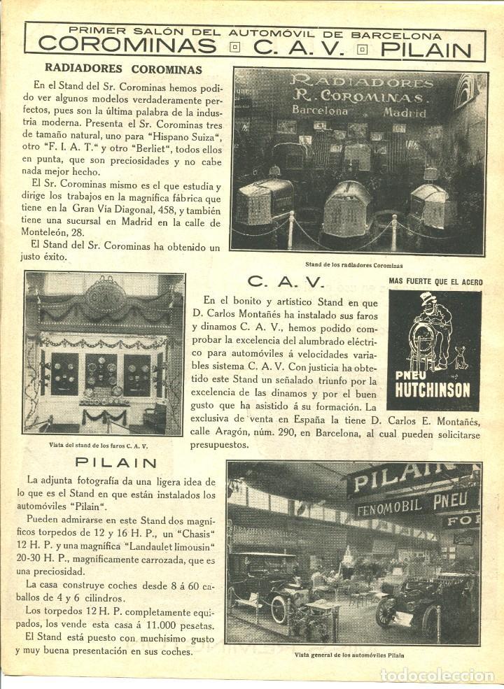 Coches: 2 LAMINAS HOJA-BARCELONA-PRIMER SALÓN DEL AUTOMOVIL-AÑO 1913- ELIZALDE-DELAHAYE-FORD-- RARA - Foto 3 - 238717540