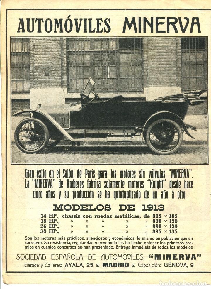 LAMINA HOJA-AUTOMOVILES MINERVA-AÑO 1913 (Coches y Motocicletas Antiguas y Clásicas - Revistas de Coches)