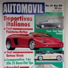 Auto: REVISTA AUTOMOVIL Nº 148 - AÑO 1990 - FIAT UNO TURBO - FIAT TIPO 16 V - ALFA 33 BOXER. Lote 240742820