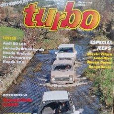 Coches: 1991 REVISTA TURBO - ESPECIAL JEEP`S - HONDA CRX - LANCIA DEDRA INTEGRALE - FIAT TEMPRA. Lote 243439945