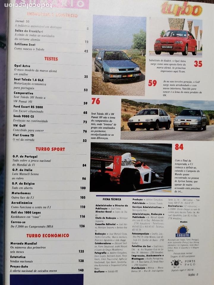 Coches: 1991 REVISTA TURBO - GRAN PREMIO DE PORTUGAL - ESCORT RS 2000 - SEAT TOLELO 16V - SAAB 9000 - Foto 2 - 243649585