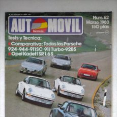 Auto: REVISTA AUTOMOVIL Nº 62 - PORSCHE 924 - 944 - 911 SC - 911 TURBO - 928 S - OPEL KADETT SR 1.6 S. Lote 244699045