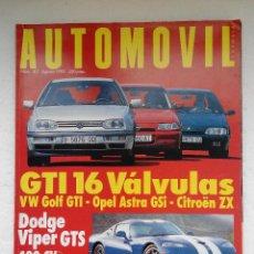 Coches: REVISTA AUTOMOVIL Nº 187 - AGOSTO 1993 - CITROEN ZX 16V - ASTRA GSI 16V - VIPER GTS - ACCORD 2.0I. Lote 244703890